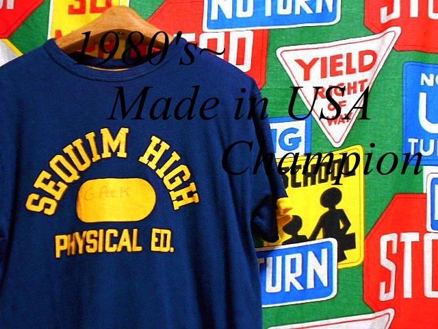 ★コンディション良好な1枚★Made in USA製アメリカ製ChampionチャンピオンビンテージダブルフェイスカレッジプリントTシャツ80sトリコタグ_♪1980s~ Champion♪