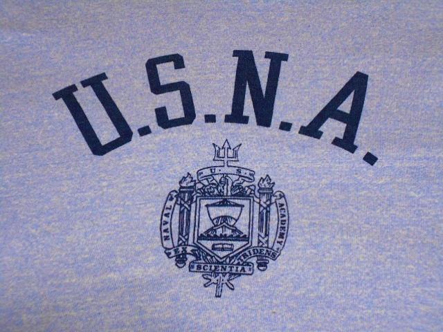 ★コンディション◎な1枚★Made in USA製アメリカ製ChampionチャンピオンビンテージUSNA染み込みプリントTシャツ80s80年代トリコタグ青霜降_画像5