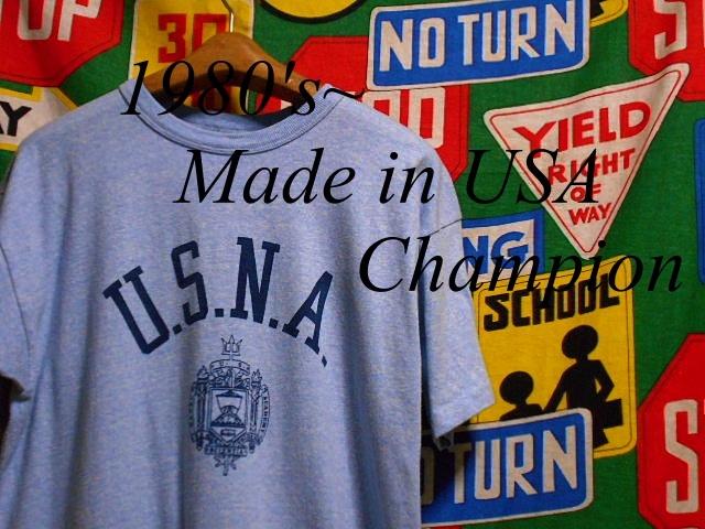 ★コンディション◎な1枚★Made in USA製アメリカ製ChampionチャンピオンビンテージUSNA染み込みプリントTシャツ80s80年代トリコタグ青霜降_♪1980s~ Champion♪