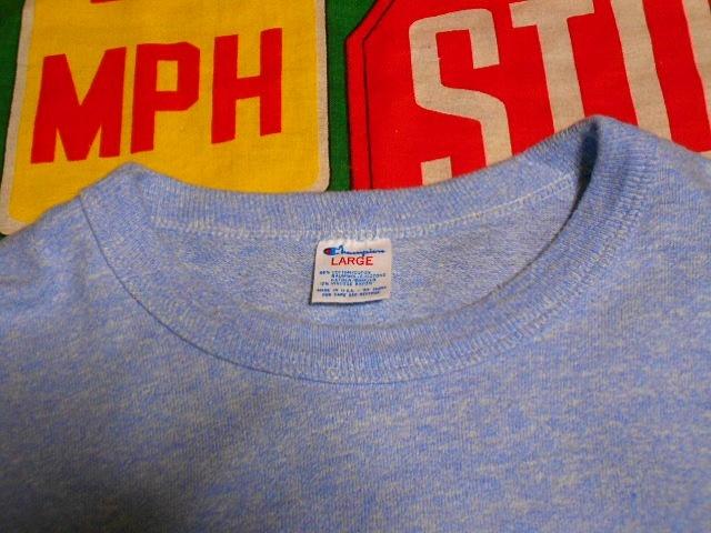★コンディション◎な1枚★Made in USA製アメリカ製ChampionチャンピオンビンテージUSNA染み込みプリントTシャツ80s80年代トリコタグ青霜降_画像6