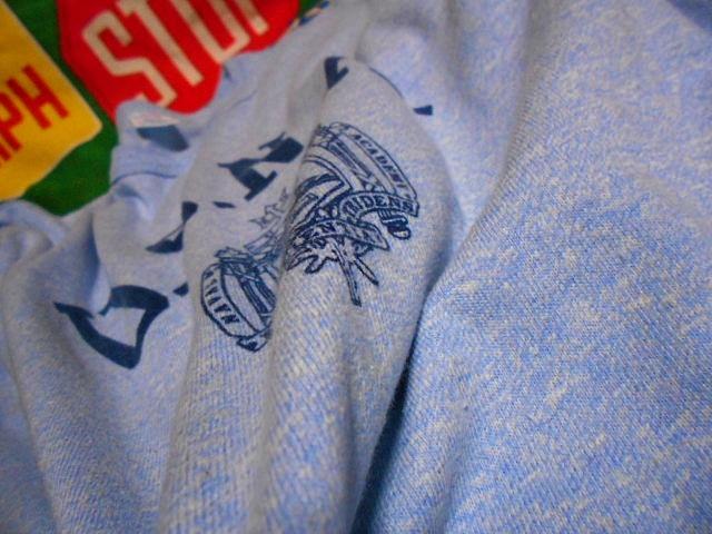 ★コンディション◎な1枚★Made in USA製アメリカ製ChampionチャンピオンビンテージUSNA染み込みプリントTシャツ80s80年代トリコタグ青霜降_画像7
