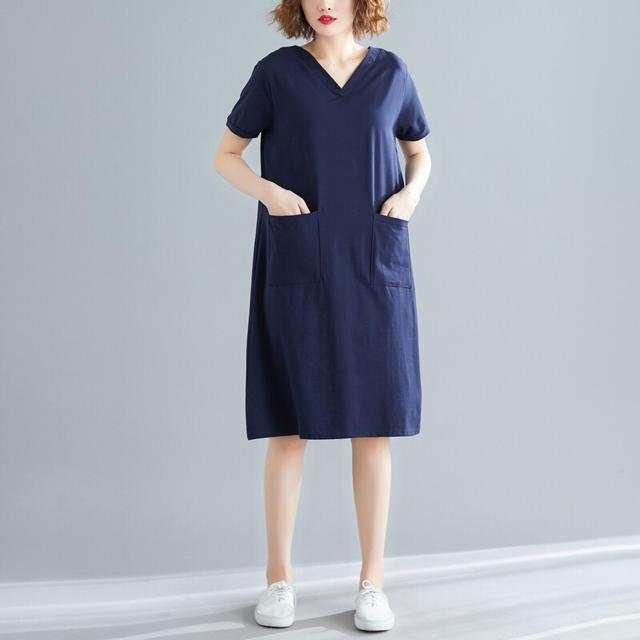 ひざ丈ワンピース Vネック シンプルデザイン ネイビー 半袖 大きいサイズ