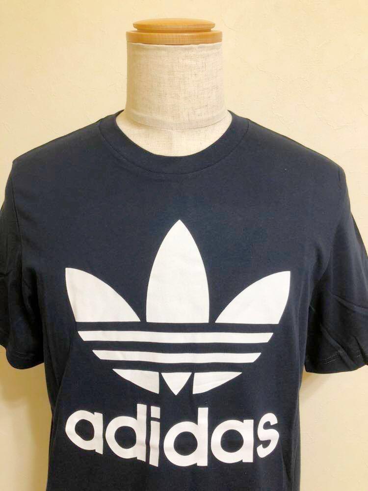 【新品】 adidas originals ORIG TREFOIL TEE アディダス オリジナルス トレフォイル ビッグロゴ 半袖 Tシャツ サイズO ネイビー AY7710_画像3