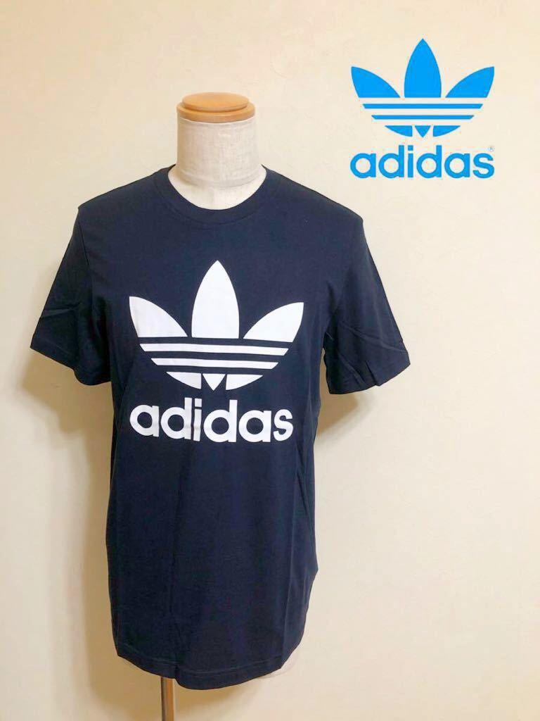 【新品】 adidas originals ORIG TREFOIL TEE アディダス オリジナルス トレフォイル ビッグロゴ 半袖 Tシャツ サイズO ネイビー AY7710_画像1