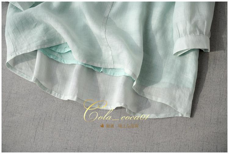 至極の気品♪高級刺繍ブラウスレース カットワーク高密度リネン麻 二重シャツワイドシルエットプルオーバー Vネック上着七分袖優雅満々_画像3