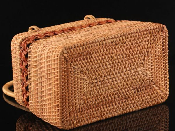 職人手作り お買物かご 竹編細工籠 煎茶道具 かごバック 籐製 自然素材 編み上げ 小物入れ 丈夫_画像5