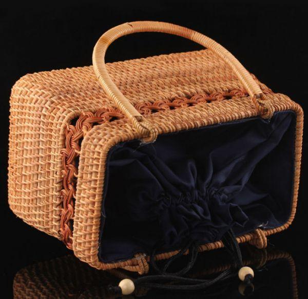 職人手作り お買物かご 竹編細工籠 煎茶道具 かごバック 籐製 自然素材 編み上げ 小物入れ 丈夫_画像3