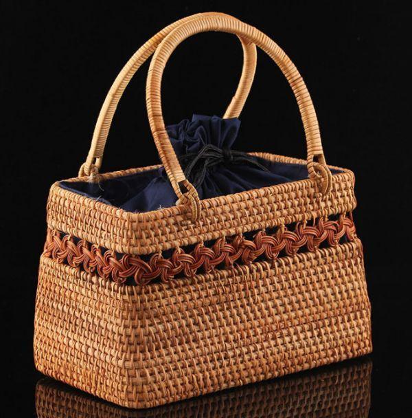 職人手作り お買物かご 竹編細工籠 煎茶道具 かごバック 籐製 自然素材 編み上げ 小物入れ 丈夫