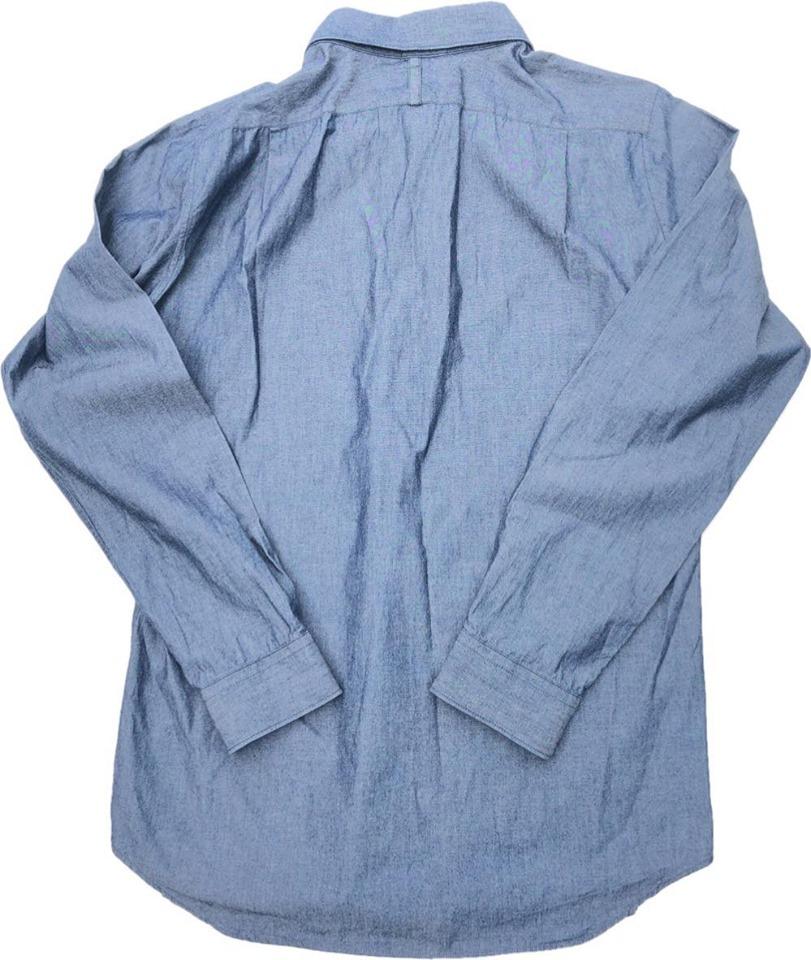 【定番】コムサメン デザイン 長袖シャツ COMME CA MEN コットン 綿 美品 ブルーグレー Lサイズ_画像2