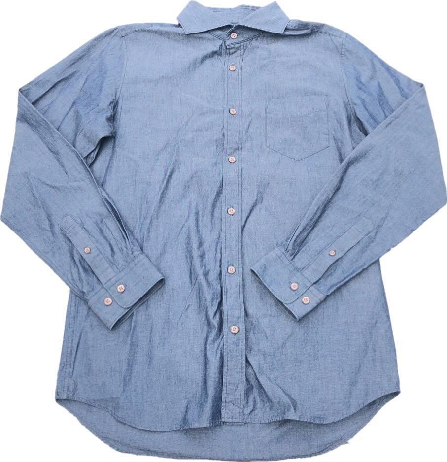 【定番】コムサメン デザイン 長袖シャツ COMME CA MEN コットン 綿 美品 ブルーグレー Lサイズ_画像1