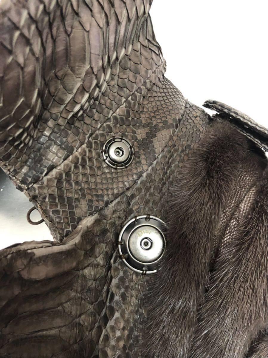 ★C048♪定価300万円クリスチャンディオールのミンク&蛇革コート40_画像8