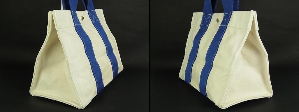 1円 エルメス HERMES フランス製 ボラボラ PM 夏カラー♪ A4収納可能 キャンバス トート ハンド バッグ アイボリー系×ブルー 6558k_画像4