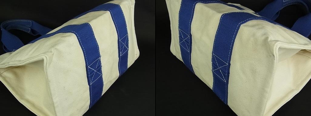 1円 エルメス HERMES フランス製 ボラボラ PM 夏カラー♪ A4収納可能 キャンバス トート ハンド バッグ アイボリー系×ブルー 6558k_画像8