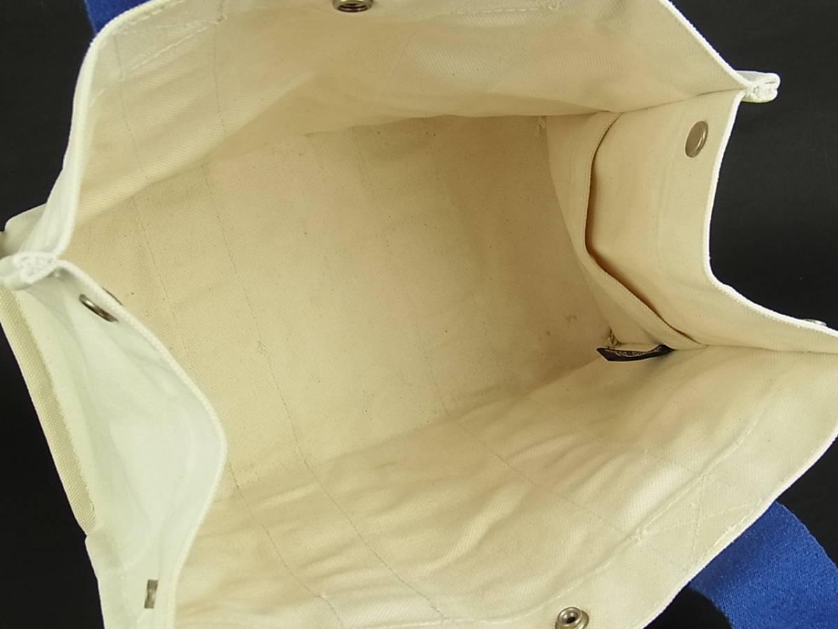 1円 エルメス HERMES フランス製 ボラボラ PM 夏カラー♪ A4収納可能 キャンバス トート ハンド バッグ アイボリー系×ブルー 6558k_画像9