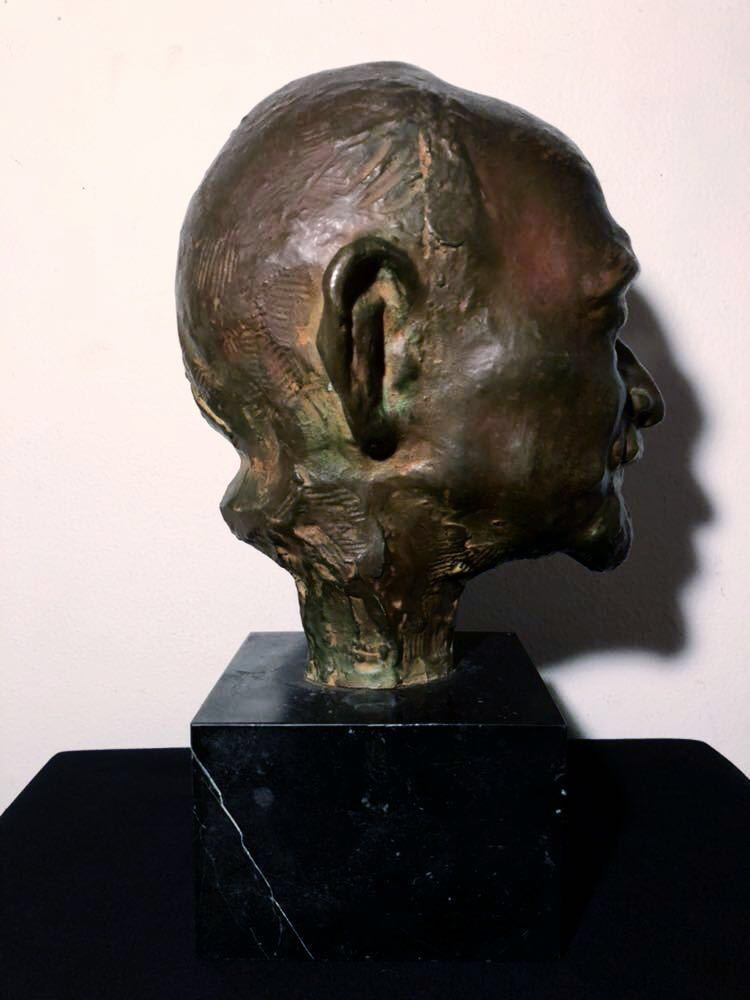 高田博厚 希少作品 志賀直哉像 世界的彫刻家による傑作ブロンズ作品 真作保証 1968年作 入手困難 在銘 サイン 代表作 頭像_画像4