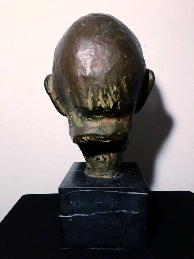 高田博厚 希少作品 志賀直哉像 世界的彫刻家による傑作ブロンズ作品 真作保証 1968年作 入手困難 在銘 サイン 代表作 頭像_画像5