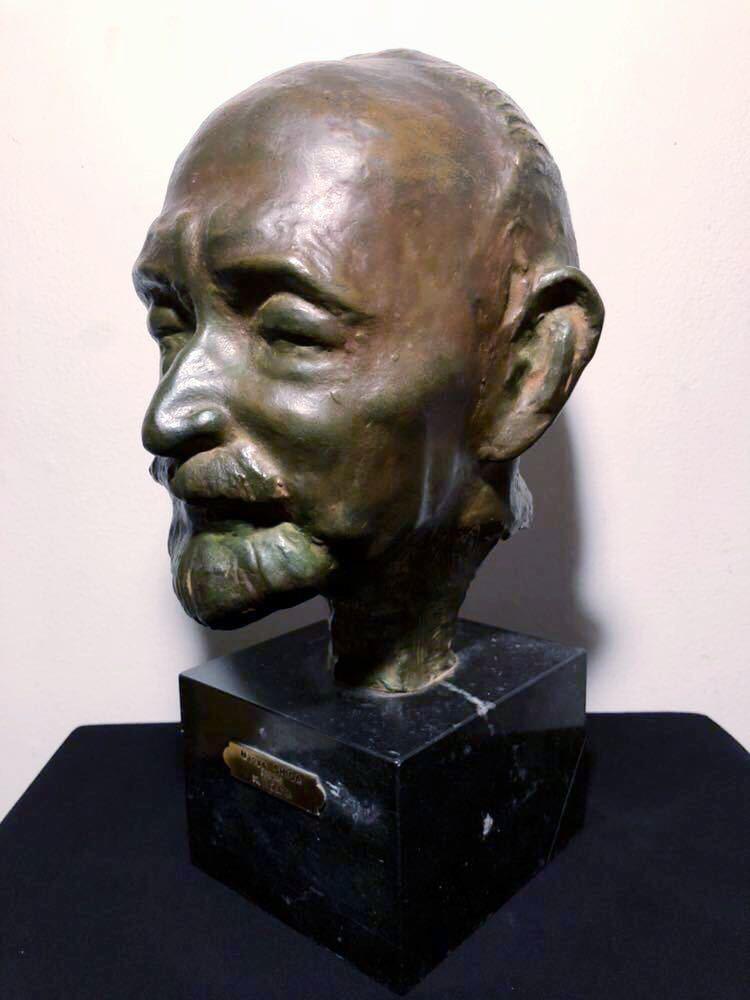 高田博厚 希少作品 志賀直哉像 世界的彫刻家による傑作ブロンズ作品 真作保証 1968年作 入手困難 在銘 サイン 代表作 頭像