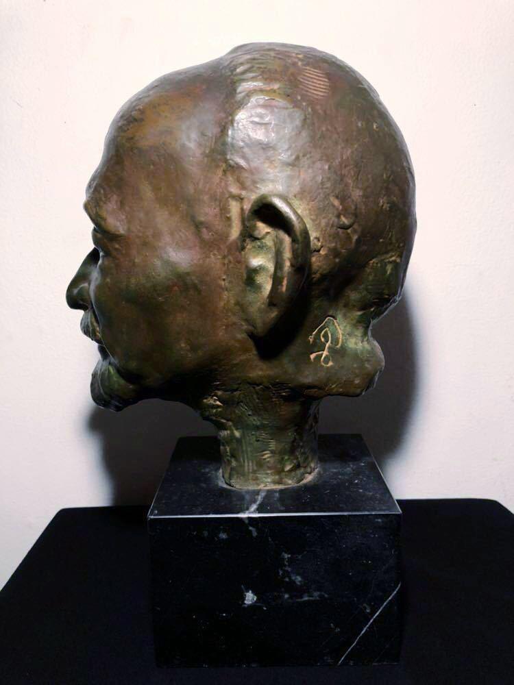 高田博厚 希少作品 志賀直哉像 世界的彫刻家による傑作ブロンズ作品 真作保証 1968年作 入手困難 在銘 サイン 代表作 頭像_画像3