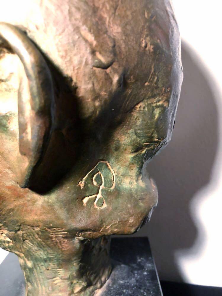 高田博厚 希少作品 志賀直哉像 世界的彫刻家による傑作ブロンズ作品 真作保証 1968年作 入手困難 在銘 サイン 代表作 頭像_画像9