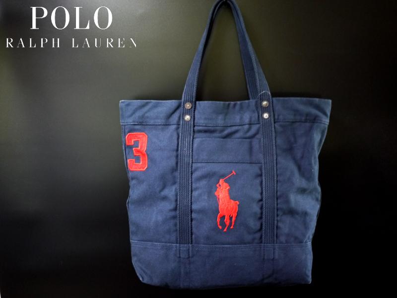新品 POLO by Ralph Lauren Big Pony TOTE 刺繍ビッグポニー ナンバリング3 ヘビーウェイトキャンバスコットン ネイビー