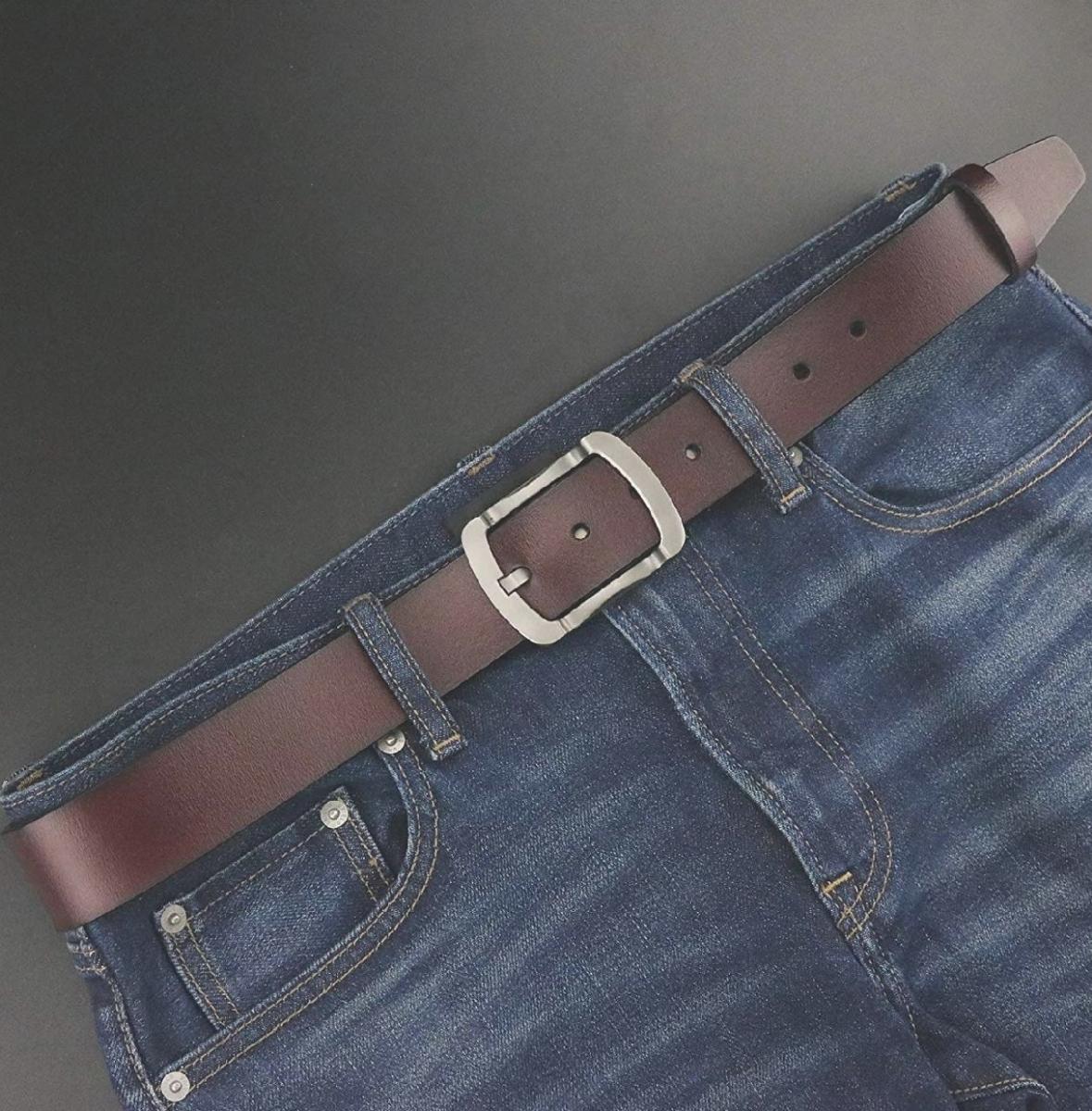 メンズ ビジネス カジュアル 大きいサイズ メンズベルト 紳士ベルト 革ベルト ビジネスベルト おしゃれ 本革 ブラウン ベルト_画像2