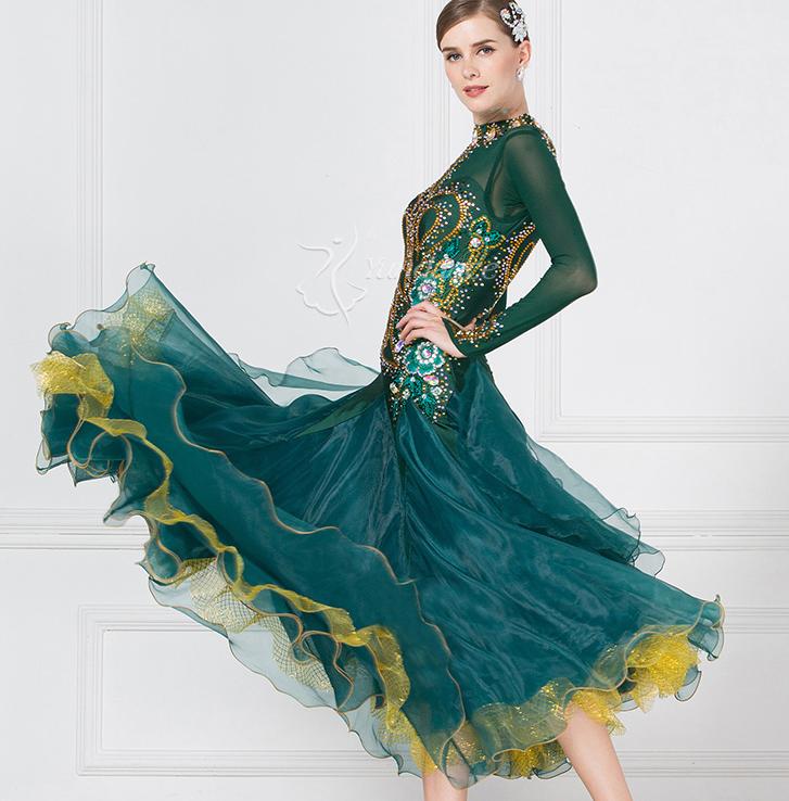 高級ドレス サイズオーダー レディース社交ダンス競技衣装 正装ダンスドレス ワルツゴージャスドレス ダークグリーン_画像3