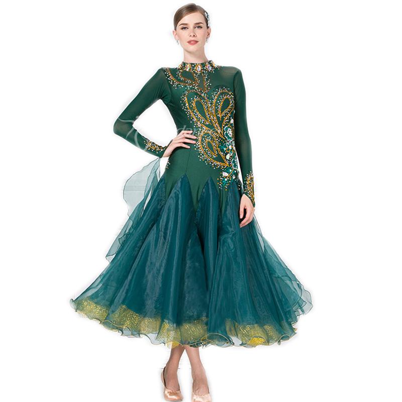 高級ドレス サイズオーダー レディース社交ダンス競技衣装 正装ダンスドレス ワルツゴージャスドレス ダークグリーン_画像1