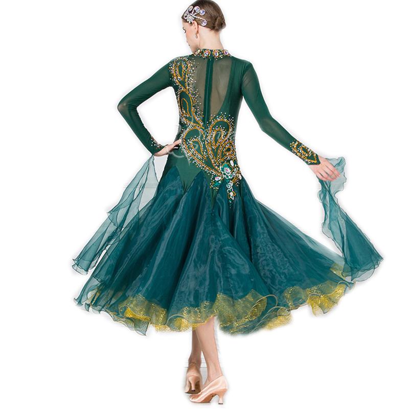 高級ドレス サイズオーダー レディース社交ダンス競技衣装 正装ダンスドレス ワルツゴージャスドレス ダークグリーン_画像2