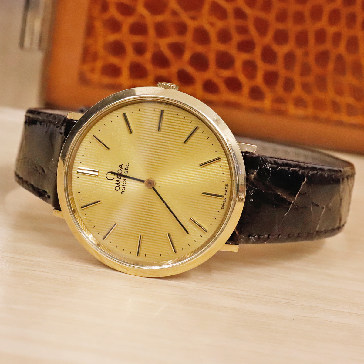 本物 オメガ 自動巻 オートマチック メンズウォッチ ゴールドケース 機械式腕時計 スイス製 正規品 OMEGA_画像5