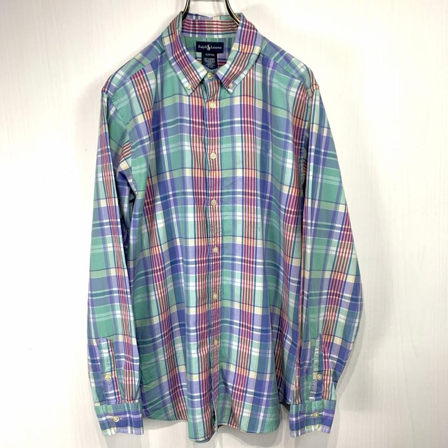 Ralph Lauren ラルフローレン 長袖 チェック ボタンダウンシャツ XLサイズ メンズ グリーン ブルー レッド 緑 青 赤 ワンポイント_画像1