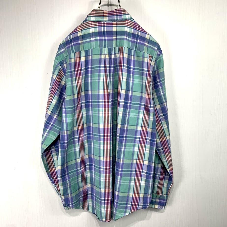 Ralph Lauren ラルフローレン 長袖 チェック ボタンダウンシャツ XLサイズ メンズ グリーン ブルー レッド 緑 青 赤 ワンポイント_画像4