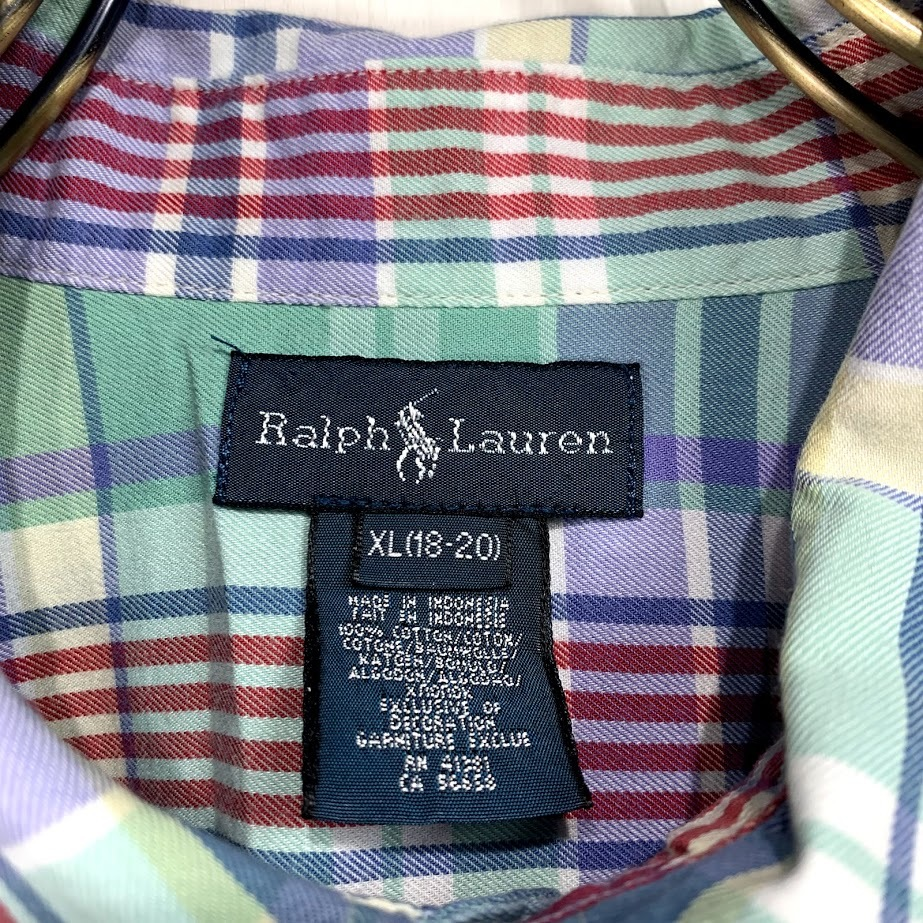 Ralph Lauren ラルフローレン 長袖 チェック ボタンダウンシャツ XLサイズ メンズ グリーン ブルー レッド 緑 青 赤 ワンポイント_画像2