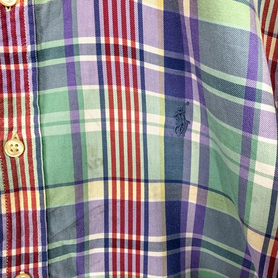 Ralph Lauren ラルフローレン 長袖 チェック ボタンダウンシャツ XLサイズ メンズ グリーン ブルー レッド 緑 青 赤 ワンポイント_画像3