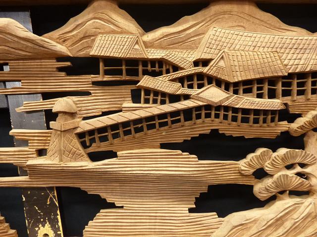 ◇在来◇細密木彫り  近江八景図  欄間一対_画像3