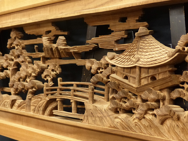 ◇在来◇細密木彫り  近江八景図  欄間一対_画像5