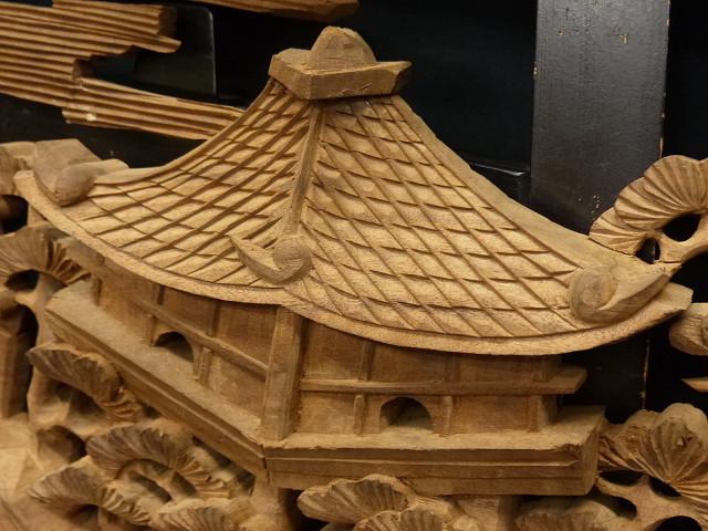 ◇在来◇細密木彫り  近江八景図  欄間一対_画像7
