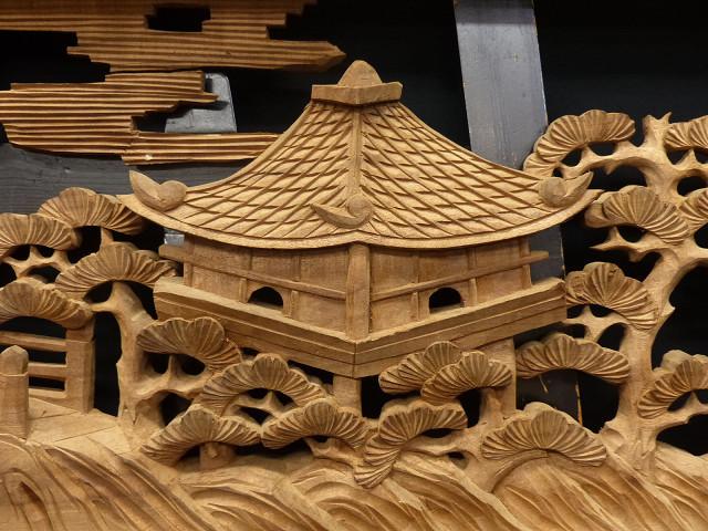 ◇在来◇細密木彫り  近江八景図  欄間一対_画像6