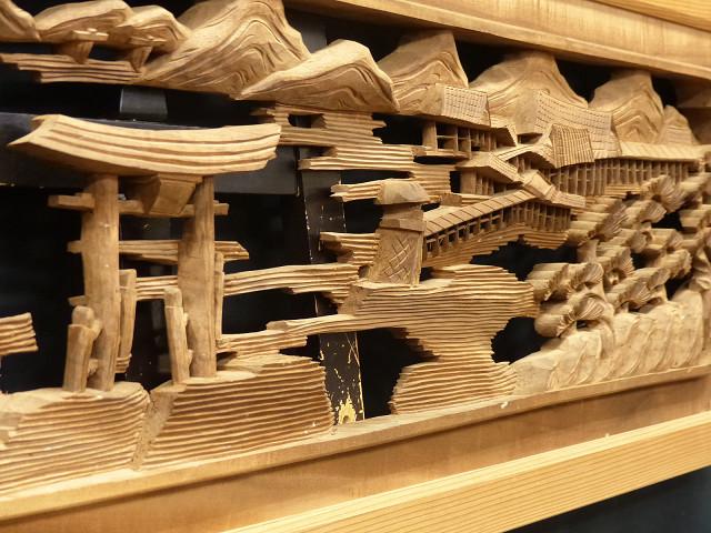 ◇在来◇細密木彫り  近江八景図  欄間一対_画像2