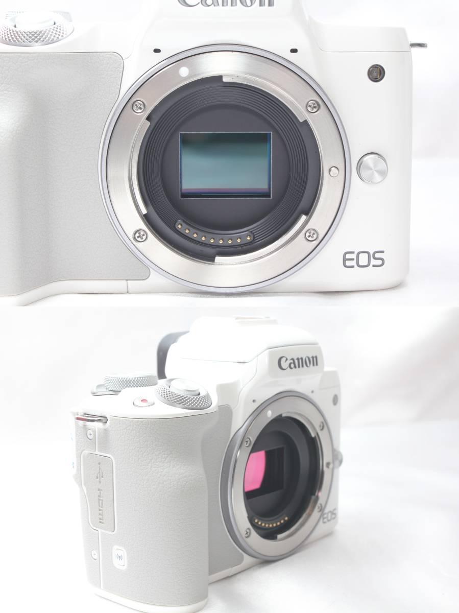 ★【新品級】 Canon EOS Kiss M ホワイト ★バリアングル 自撮り かんたん ★取説 バッテリー チャージャー ストラップ_画像6