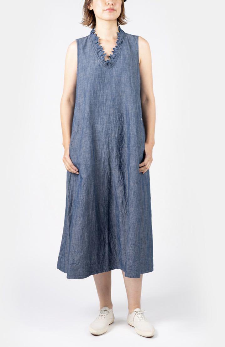 新品★今季45R コットンリネンのノースリーブドレス ワンピース サイズ0_画像3
