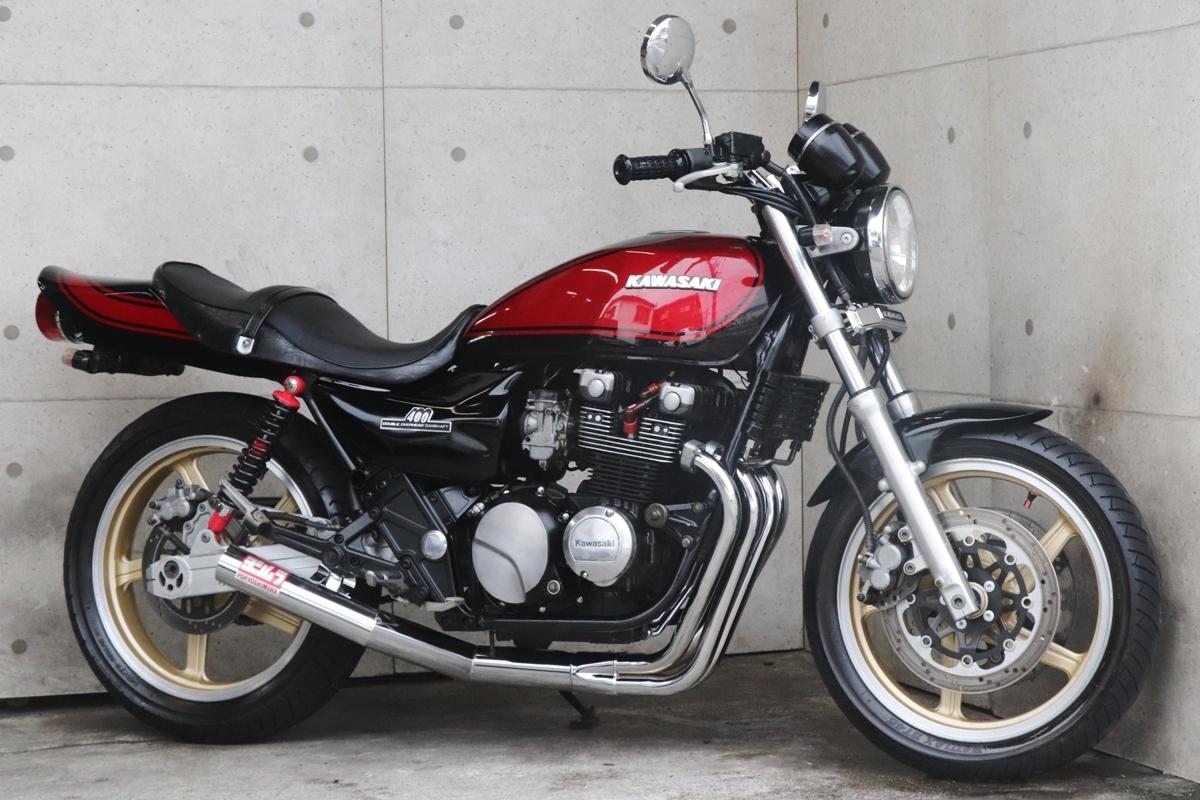 「横浜~ Kawasaki ゼファー400 C3 旧車 Z2 ブラック火の玉カラー カスタム 好調」の画像1