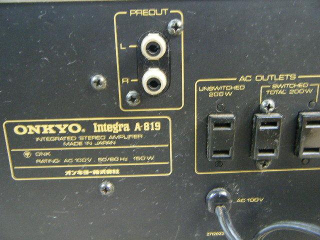 3さ4●ONKYO オンキョー Integra A-819 ステレオプリメインアンプ【ジャンク品 通電OK!】 _画像6
