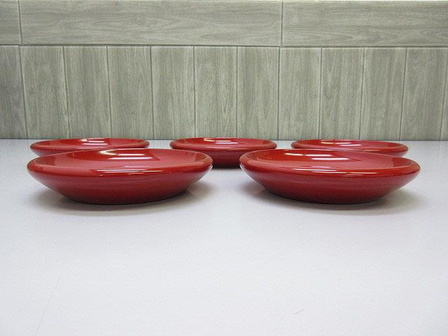 ★sh0120 未使用品 漆器 6客セット 祖雅堂 木製 漆芸 朱塗り 工芸品 おもてなしの器 菓子器 盛皿 小皿 大皿 和食器★_画像2