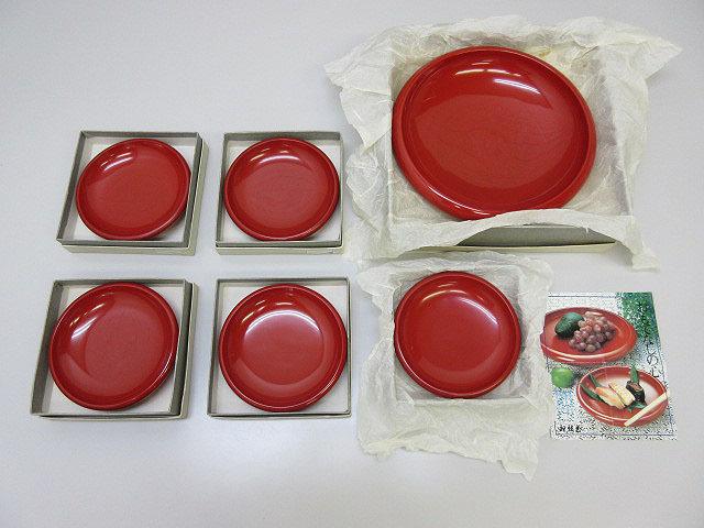 ★sh0120 未使用品 漆器 6客セット 祖雅堂 木製 漆芸 朱塗り 工芸品 おもてなしの器 菓子器 盛皿 小皿 大皿 和食器★