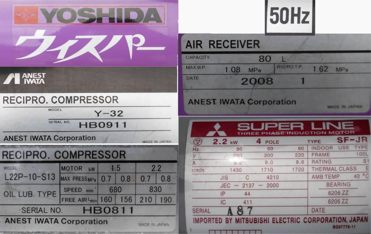 ほ レシプロコンプレッサー 吉田/アネスト岩田 ウィスパー Y32 L22P-10 50Hz 2.2KW 静音型 圧力調整器付 空気圧縮機 3馬力_画像9