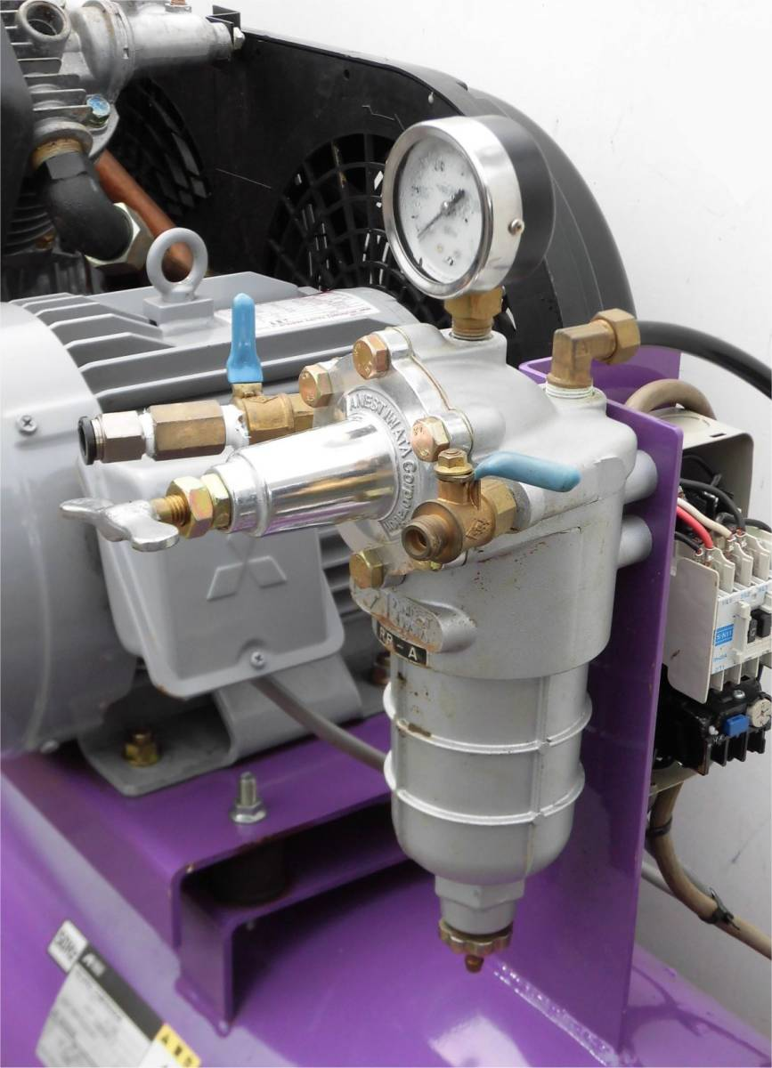 ほ レシプロコンプレッサー 吉田/アネスト岩田 ウィスパー Y32 L22P-10 50Hz 2.2KW 静音型 圧力調整器付 空気圧縮機 3馬力_画像8