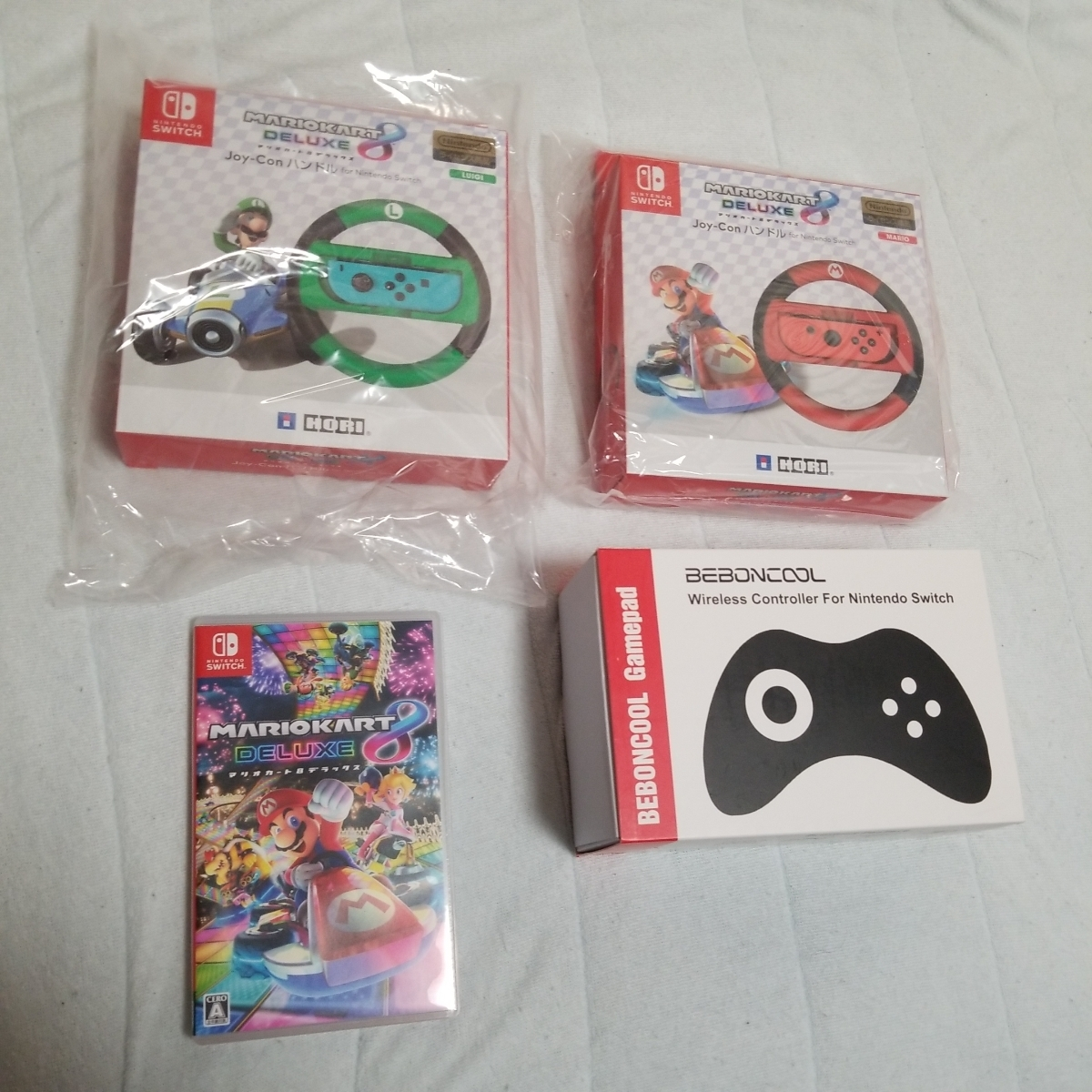 Nintendo Switch 本体 任天堂 マリオカート8デラックス プレイセット マリオカートソフト ガラスフィルム ジョイコン 収納ケース_画像5