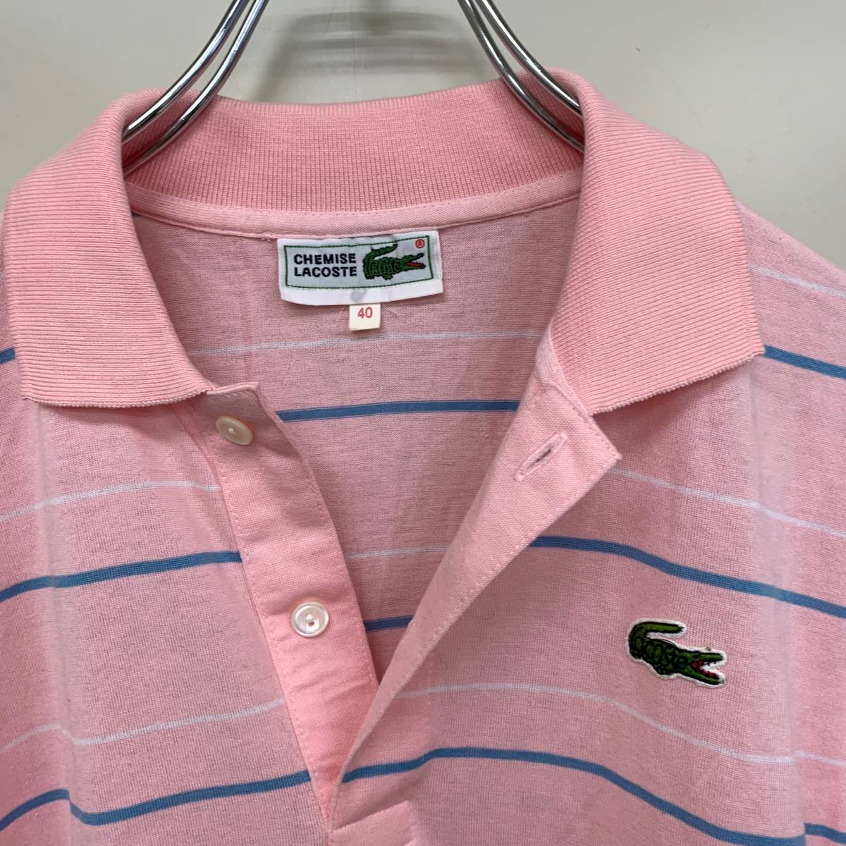 ラコステ 半袖 ポロシャツ ピンク ボーダー サイズ40