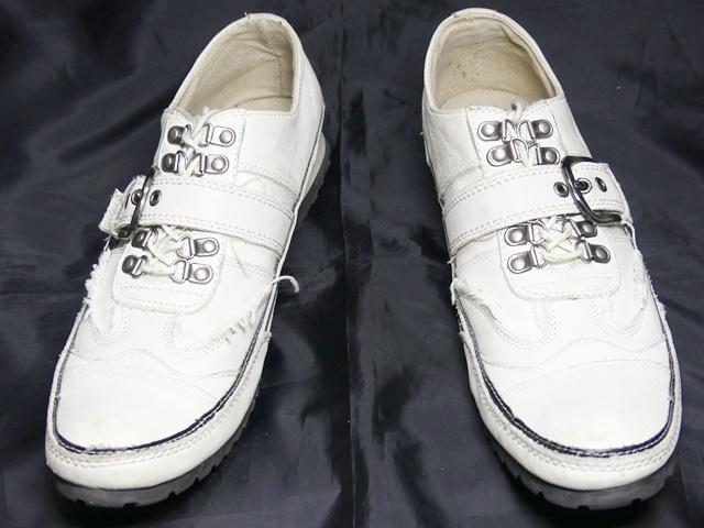 即決★whoop'ee'★24.5cm レザーベルトストラップシューズ フーピー メンズ 白 ホワイト 本革 スニーカー 本皮 レースアップ 革靴 _画像4