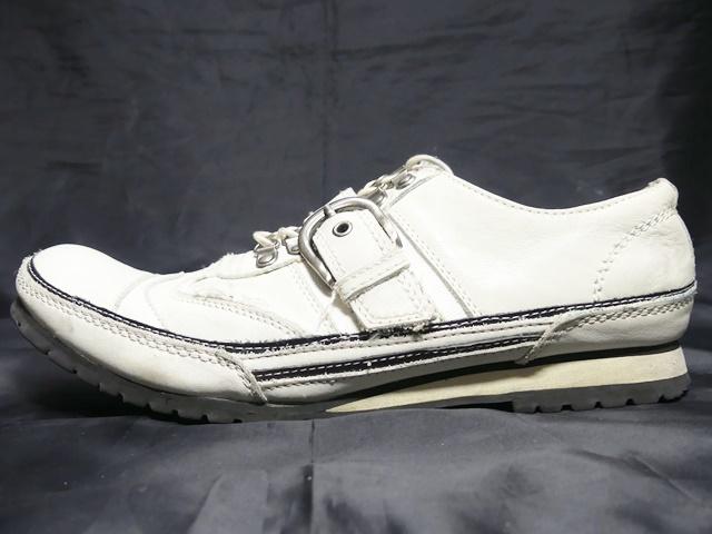即決★whoop'ee'★24.5cm レザーベルトストラップシューズ フーピー メンズ 白 ホワイト 本革 スニーカー 本皮 レースアップ 革靴 _画像3